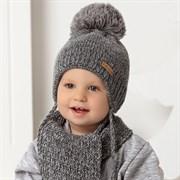 .AJS комплект 40-436 шапка двойная вязка+ шарф (р.46-48)