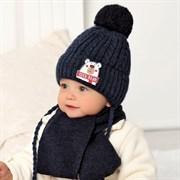 .AJS комплект 40-414 шапка вязаная на флисе + шарф (р.44-46)