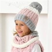 .AJS комплект 40-486 шапка вязаная, подклад флис + снуд (р.54-56)