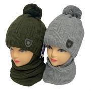 GRANS комплект  A 1112 ST шапка с утеплителем, подклад хлопок+снуд (р.50-52)