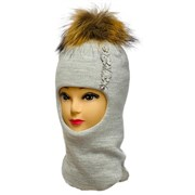 LAMIR шлем Ричи с натуральным помпоном, на утеплителе, подклад хлопок (р.52-54)