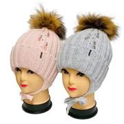 LAMIR шапка с натуральным помпоном, с утеплителем, подклад хлопок(р.52-54)