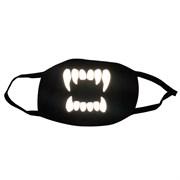 светоотражающая черная маска на лицо, рисунок: светящиеся зубы