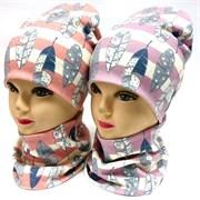 ambra комплект шапка двойной трикотаж + снуд (р.48-50,52-54) перышки