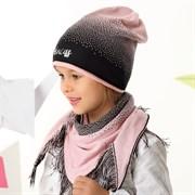 .AJS комплект 42-153 шапка одинарная вязка + косынка (р.54-56)
