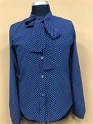 Catherine блузка длинный рукав, прямая, синяя в горох (р.128-158)