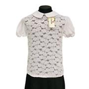 Catherine блузка короткий рукав, гипюровая на резинке, белая (р.128-158)