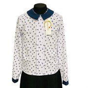Catherine блузка длинный рукав, прямая, ласточки, белая (р-ры128-158)