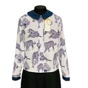 Catherine блузка длинный рукав, прямая, леопард, белая (р-ры128-158)