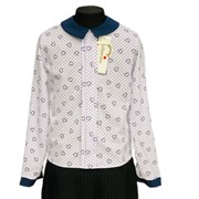 Catherine блузка длинный рукав, прямая, сердечки, белая (р-ры128-158)