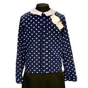 Catherine блузка длинный рукав, прямая, средний горох, синяя (р-ры128-158)