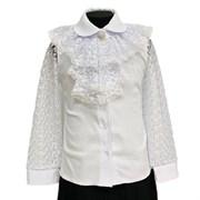 блузка ЛЮТИК модель 20207 длинный рукав, белая (рост 128,134,140,146,152)
