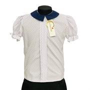 Catherine блузка короткий рукав, прямая, горох, белая (р-ры128-158)