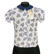 Catherine блузка короткий рукав, прямая, микки, белая (р-ры128-158)