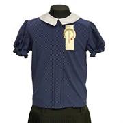 Catherine блузка короткий рукав, прямая, горох, синяя (р-ры128-158)
