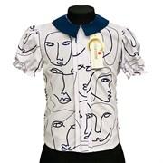 Catherine блузка короткий рукав, прямая, лица, белая (р-ры128-158)