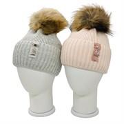 LAMIR шапка P 168 Жаклин V37 с натуральным помпоном, с утеплителем, подклад хлопок (р.54-56)