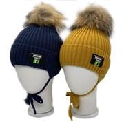 LAMIR шапка P 171 Глеб с натуральным помпоном, с утеплителем, подклад хлопок (р.52-54)