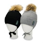 LAMIR шапка P 171 Илья с натуральным помпоном, с утеплителем, подклад хлопок (р.52-54)