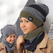 .AJS комплект 42-586 шапка двухсторонняя + снуд  (р.54-56)