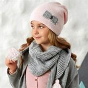 .AJS комплект 42-515 шапка двойная вязка+косынка одинарная вязка (р.54-56)