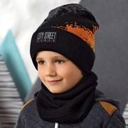 .AJS комплект 42-555 шапка двойная вязка + снуд  (р.52-54)