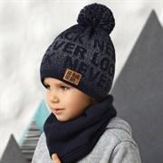 .AJS комплект 42-550 шапка двойная вязка + снуд  (р.54-56)