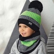.AJS комплект 42-547 шапка двойная вязка + снуд (р.48-50)