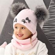 .AJS комплект 42-464 шапка + снуд двойная вязка (р.48-50) помпон искусственный мех