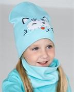 Milli шапка и снуд Crazy cat, комплект из двойного трикотажа (р.48-54)