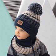 .AJS комплект 42-442 шапка с завязками, подклад флис + снуд (р.48-50)