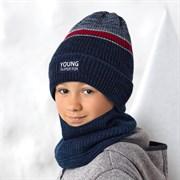 .AJS комплект 42-585 шапка двойная вязка + снуд  (р.52-54)