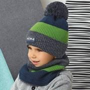 .AJS комплект 42-543 шапка двойная вязка + снуд  (р.52-54)