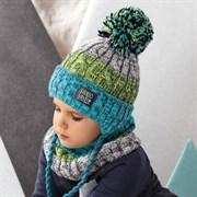 .AJS комплект 42-482 шапка с завязками, подклад флис + снуд (р.50-52)