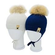LAMIR шапка P 001 Леша, утеплитель, натуральный помпон (р.44-46)