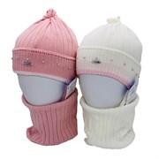 AGBO комплект 3182 Santa шапка вязаная, подклад хлопок+снуд (р.52-54)