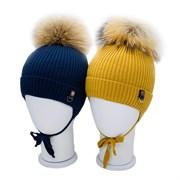 LAMIR шапка P 004 Кирилл, утеплитель, натуральный помпон (р.48-50)