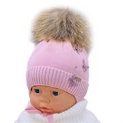 LAMIR шапка P 001 Памела, утеплитель, натуральный помпон (р.40-42)