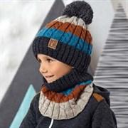 .AJS комплект 42-554 шапка подклад флис + снуд  (р.52-54) светоотражающий помпон