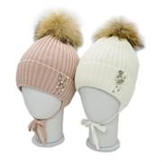 LAMIR шапка B 411 Шайло с натуральным помпоном, с утеплителем, подклад хлопок (р.52-54)