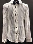 блузка ЛЮТИК модель 20151-2 мальнький бант длинный рукав в горошек,молочный цвет (рост128)