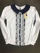 Catherine блузка дл.рук. белая верикальная вставка шитье (р-ры134 в нал.)
