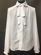 SLY модель 108 блузка белая длинный рук. бант-ленточка (р-ры134-164) 6 шт.