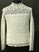Zibi водолазка гипюровая длинный рукав, белая, огурцы (размер 152)