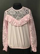 Zibi блузка длин.рук. верх-гипюр, розовая (р.122-152)