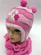 Politano шапка для девочки с шарфом подклад мех (зайчик)(р.50-54)