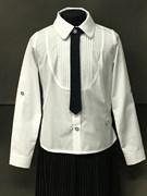 BG блузка дл.рук, c галстуом, плессе, белая (рост 134-164) в уп.6шт.