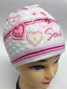 """AGBO шапка Jesein """"3"""" (сердечки) шапка для девочки двойн.вязка (р.50-52)"""