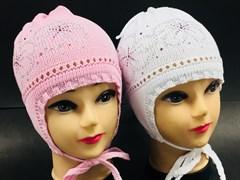Aguti модель 270 шапка для девочки с завязками один.вязк.(бабочки стразы)