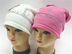 KOLAD шапка одинарн.вязка (кошки-стразы)(р.54-58) т. роз, св.роз